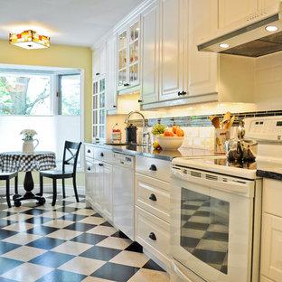 オタワのトラディショナルスタイルのおしゃれなII型キッチン (シングルシンク、レイズドパネル扉のキャビネット、白いキャビネット、黒いキッチンパネル、白い調理設備、コルクフローリング、アイランドなし) の写真