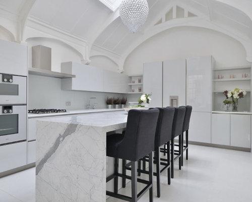 White Kitchen Marble Houzz
