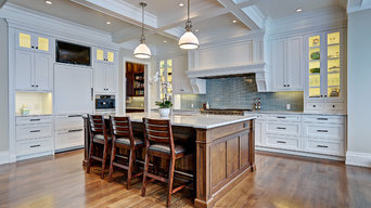 Grand Kitchen with coffered ceiling