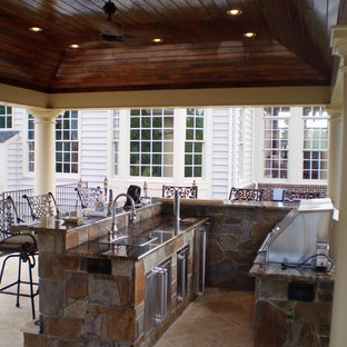 Grand Pool Pavilion w Outdoor Kitchen & Stone Fireplace