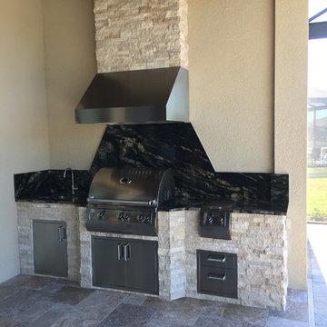 Granite, Stone, & Stainless Steel Outdoor Kitchen