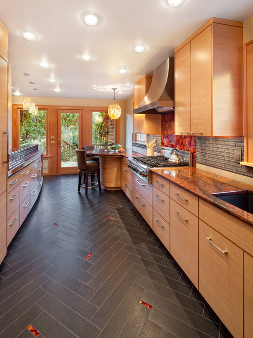 Tile Floor Design Ideas kitchen flooring ideas interior design styles and color schemes for home decorating hgtv Example Of A Trendy Galley Enclosed Kitchen Design In Portland With An Undermount Sink Flat