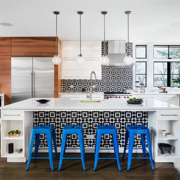Graphic Black & White Fez Cement Tiles Add Punch To A Modern Kitchen