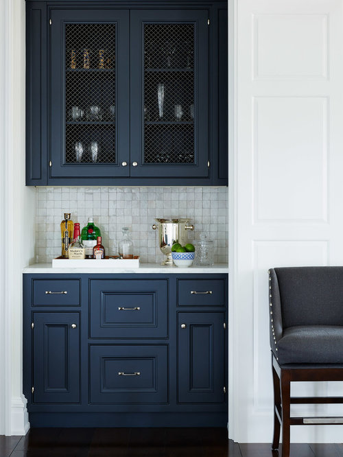 Beach Style Kitchen Idea In Jacksonville With Blue Cabinets Mosaic Tile Backsplash And Gray