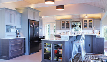 Gray & Charcoal Beach Kitchen with Double-Tiered Island