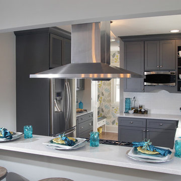 Gray and White Kitchen Design with Splash of Color