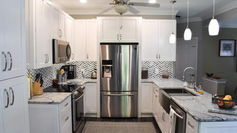 Gray Backsplash in a White Kitchen