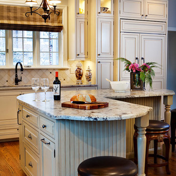 Gray Kitchen Cabinets with Beadboard and Granite Counters St. Louis, MO