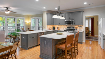 Gray Kitchen with Contrasting Driftwood Stained Island in Gaithersburg, MD
