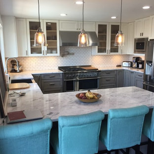 Gray Lower Cabinets with White Upper