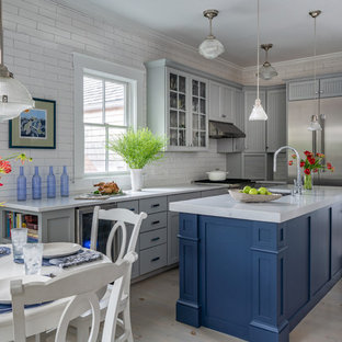 Gray, white and blue kitchen