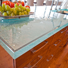 Contemporary Kitchen Great Kitchen with Glass Countertop