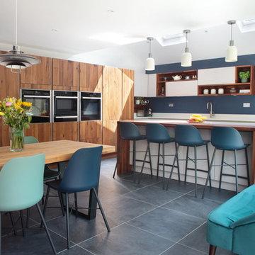 Great Missenden Sand Grey Satin & Iroko Wood Kitchen, Buckinghamshire