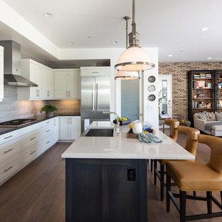 ロサンゼルスの中サイズのインダストリアルスタイルのおしゃれなキッチン (エプロンフロントシンク、シェーカースタイル扉のキャビネット、白いキャビネット、クオーツストーンカウンター、グレーのキッチンパネル、セラミックタイルのキッチンパネル、シルバーの調理設備の、無垢フローリング) の写真
