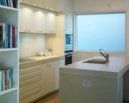 Modern Kitchen Idea In London With An Integrated Sink Flat Panel Cabinets White