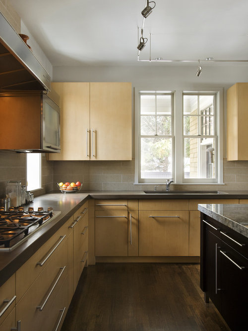 Example Of A Trendy Kitchen Design In Boston With Flat Panel Cabinets Light Wood