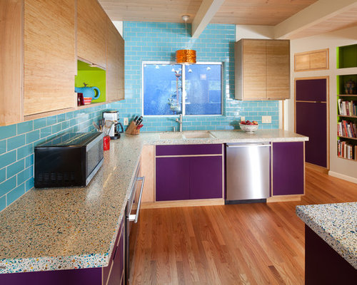 Eclectic Kitchen Photo In San Luis Obispo With Stainless Steel Appliances, Concrete  Countertops, A