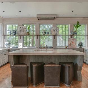 ナッシュビルのエクレクティックスタイルのおしゃれなキッチン (アンダーカウンターシンク、フラットパネル扉のキャビネット、ヴィンテージ仕上げキャビネット、ガラスまたは窓のキッチンパネル、パネルと同色の調理設備、淡色無垢フローリング、白いキッチンカウンター) の写真