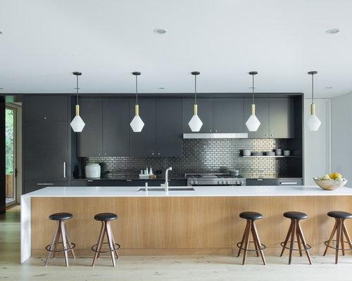 Midcentury Modern Open Concept Kitchen Designs   Open Concept Kitchen   Midcentury  Modern Galley Light Wood