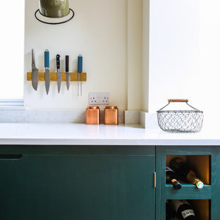 Green Industrial Style Galley Kitchen