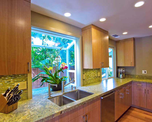 tropical kitchen idea in san francisco - Kitchen Garden Window Ideas