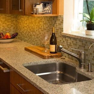 サンフランシスコの小さいコンテンポラリースタイルのおしゃれなキッチン (アンダーカウンターシンク、フラットパネル扉のキャビネット、中間色木目調キャビネット、再生ガラスカウンター、緑のキッチンパネル、ガラスタイルのキッチンパネル、シルバーの調理設備の、無垢フローリング) の写真