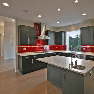 Modelo de cocina en L, minimalista, abierta, con fregadero bajoencimera, armarios con paneles lisos, encimera de cuarzo compacto, salpicadero rojo, electrodomésticos de acero inoxidable, una isla, puertas de armario grises, salpicadero de azulejos de porcelana y suelo de madera oscura