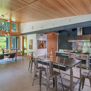 Mid-sized contemporary open concept kitchen inspiration - Example of a mid-sized trendy single-wall concrete floor open concept kitchen design in Burlington with flat-panel cabinets, black cabinets, stainless steel countertops, an island, an undermount sink, gray backsplash, metal backsplash and stainless steel appliances
