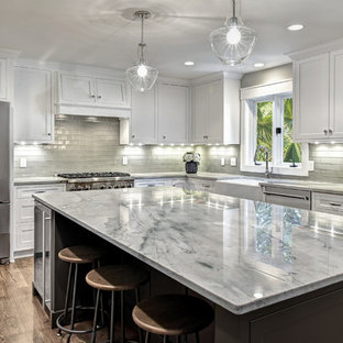 Kitchens With White Cabinets And Gray Countertops Houzz - Gray kitchen cabinets with marble countertops
