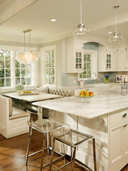 elegant kitchen photo in dc metro with mosaic tile backsplash quartzite countertops a farmhouse - Breakfast Room Lighting