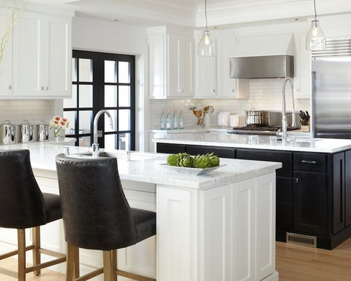 White Cabinet Black Island Ideas, Pictures, Remodel and Decor