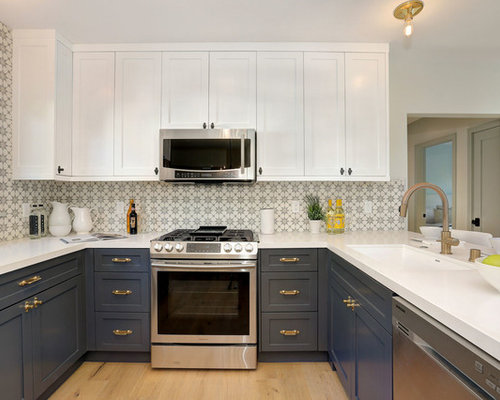 small transitional eat in kitchen remodeling inspiration for a small transitional u shaped - U Shaped Kitchen Ideas