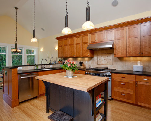 Shaker style houzz for Cinnamon cherry kitchen cabinets