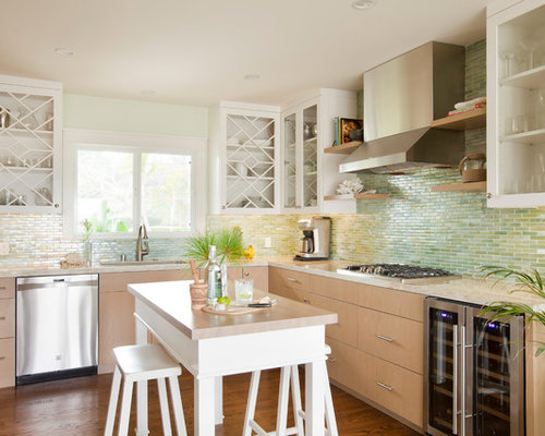Green Backsplash Tile Houzz