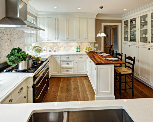 Clemson double pendant houzz example of a classic enclosed kitchen design in new york with a double bowl sink aloadofball