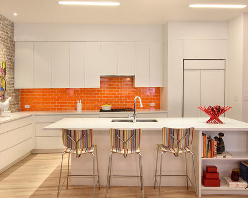 Kitchen with Orange Backsplash and White Cabinets Design Ideas & Remodel Pictures | Houzz