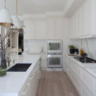 Kitchen - contemporary kitchen idea in San Francisco with shaker cabinets, white cabinets and white appliances