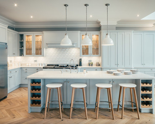 Design Ideas For A Large Classic Galley Kitchen In Hertfordshire With Blue  Cabinets, An Island