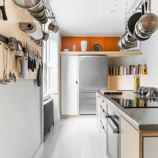 Grey and Orange Modern Kitchen