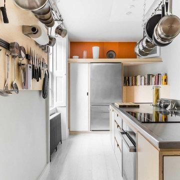 Grey and Orange Modern Kitchen
