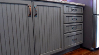 Grey/blue Glazed and Distressed Cabinets
