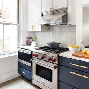 Grey Kitchen Tiles Backsplash in Stacked Pattern