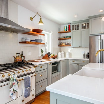 Grey Shaker Kitchen with Cherry Open Shelves