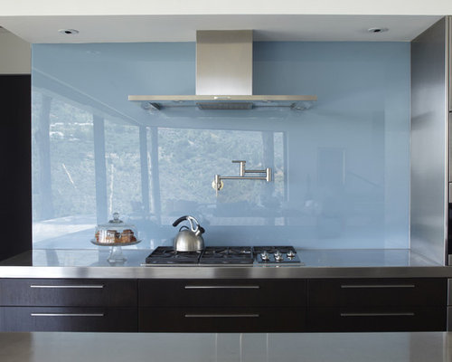 Solid Glass Backsplash | Houzz
