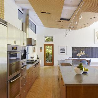 Imagen de cocina de galera, moderna, de tamaño medio, abierta, con fregadero integrado, encimera de acero inoxidable, armarios con paneles lisos, electrodomésticos de acero inoxidable, puertas de armario de madera oscura, suelo de madera clara y una isla