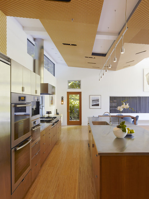 Open Concept Kitchen   Mid Sized Modern Galley Light Wood Floor Open  Concept Kitchen Idea