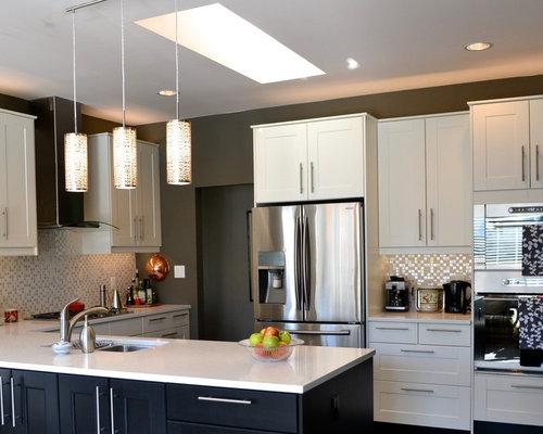 ... cabinets, quartz countertops, metallic backsplash, stainless steel