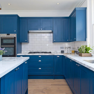 Large Transitional Open Concept Kitchen Ideas Example Of A L Shaped Light