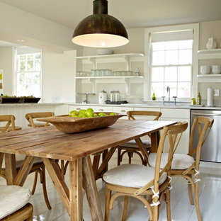 Farmhouse eat-in kitchen ideas - Farmhouse eat-in kitchen photo in New York with open cabinets, white cabinets and stainless steel appliances