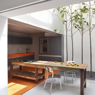 Ejemplo de cocina comedor moderna con puertas de armario grises, electrodomésticos de acero inoxidable, armarios con paneles lisos y suelo naranja